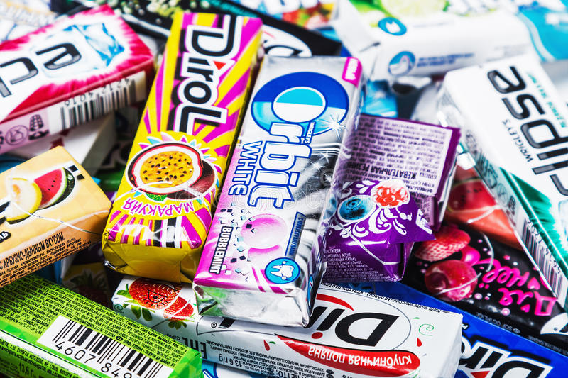 Various brand chewing or bubble gum royalty free stock photos