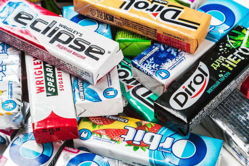 various brand chewing gum. chewing gum brands royalty free stock images