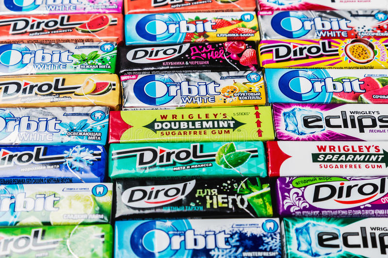 Various brand chewing gum royalty free stock image