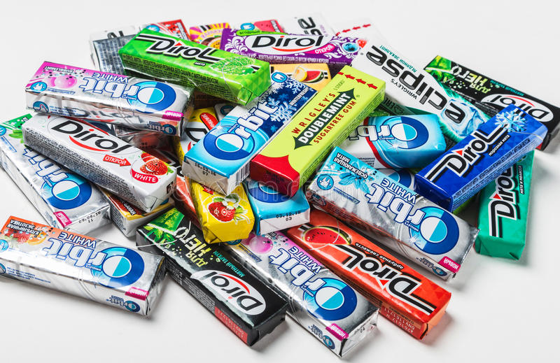 Various brand chewing gum stock photos