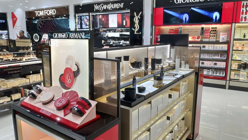 Various brand cosmetics boutiques store in Ngurah Rai International Airport stock images