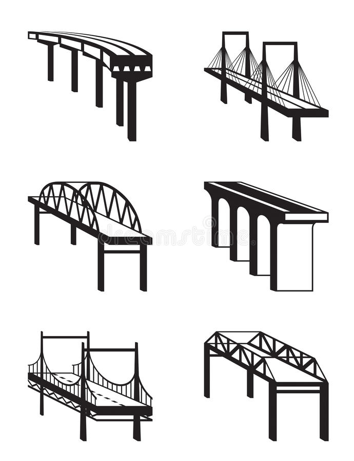 Various Bridges In Perspective Royalty Free Stock Images