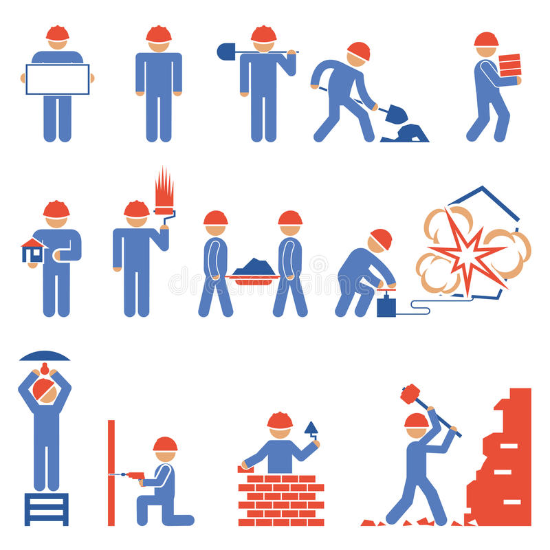 Various Building and Demolition Character Icons. Various Blue and Red Building and Demolition Construction Character Icons stock illustration