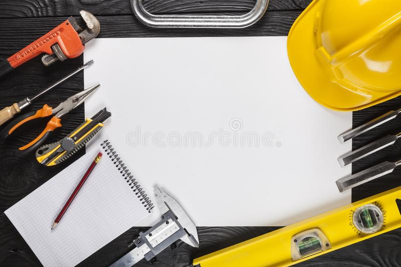 Various Building tools on wooden stock image