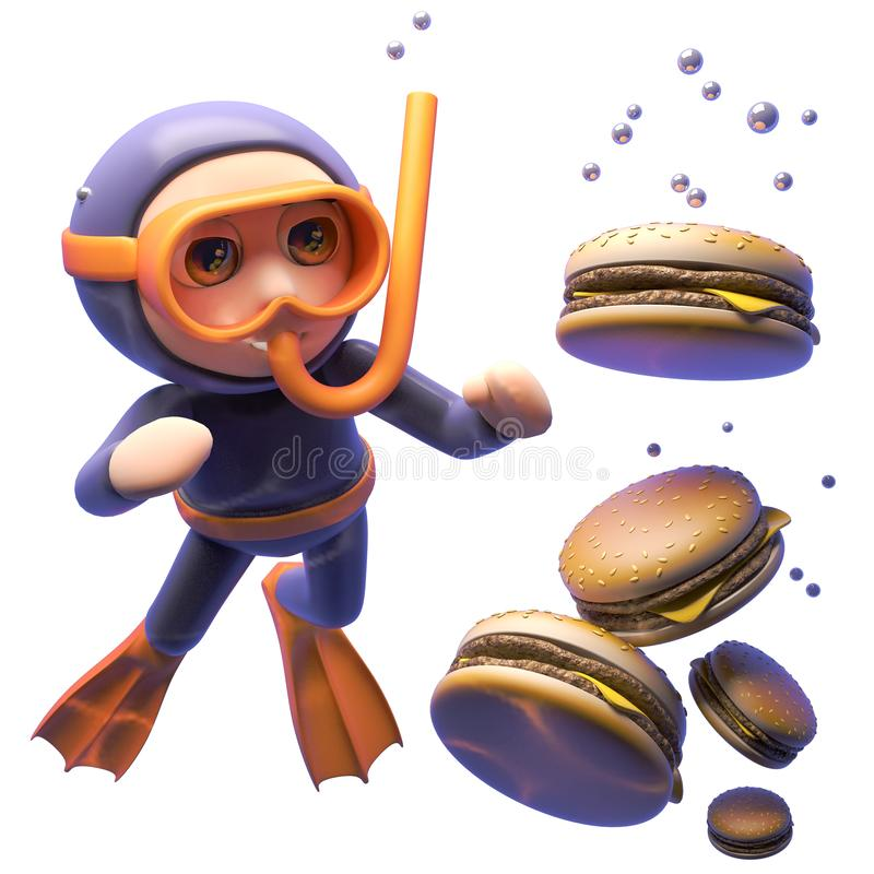 Various burgers sink in the water as hungry cartoon snorkel diver looks on, 3d illustration royalty free illustration