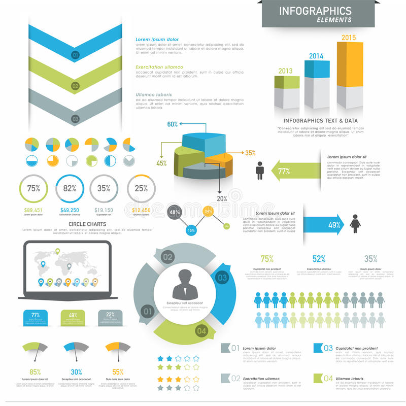 Various business infographics elements. Various business infographics elements including 3D pie chart, annual statistical bars and graphs for corporate purpose stock illustration