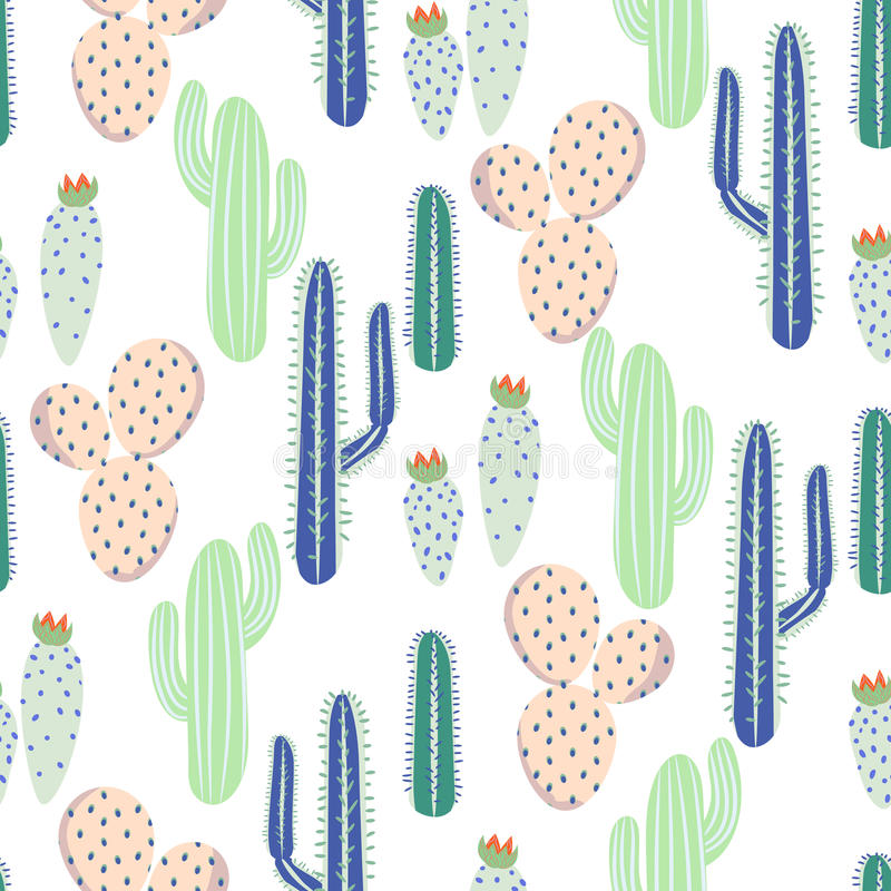 Various cacti desert vector seamless pattern. Abstract thorny plants nature fabric print. royalty free illustration