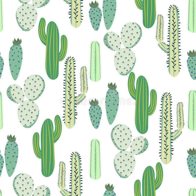 Various cacti desert vector seamless pattern. Abstract thorny plants nature fabric print. stock illustration