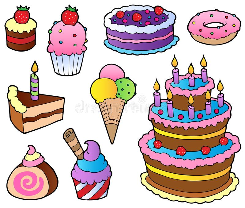 Various cakes collection 1 vector illustration