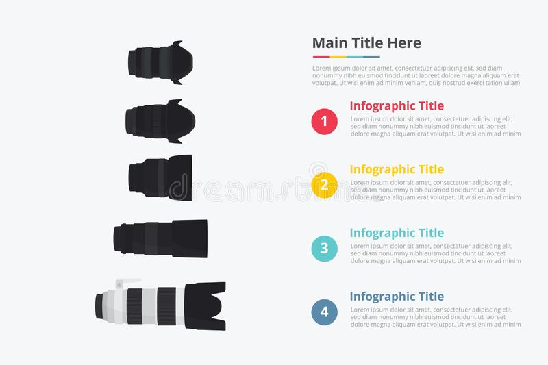 Various camera lens set collection with some point title description for information template - vector stock illustration