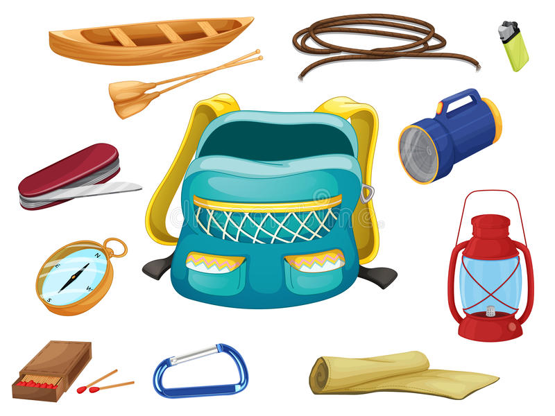 Various camping objects stock illustration