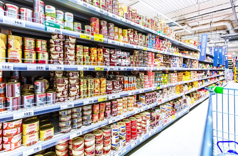 Various canned meat in cans for sale stock images