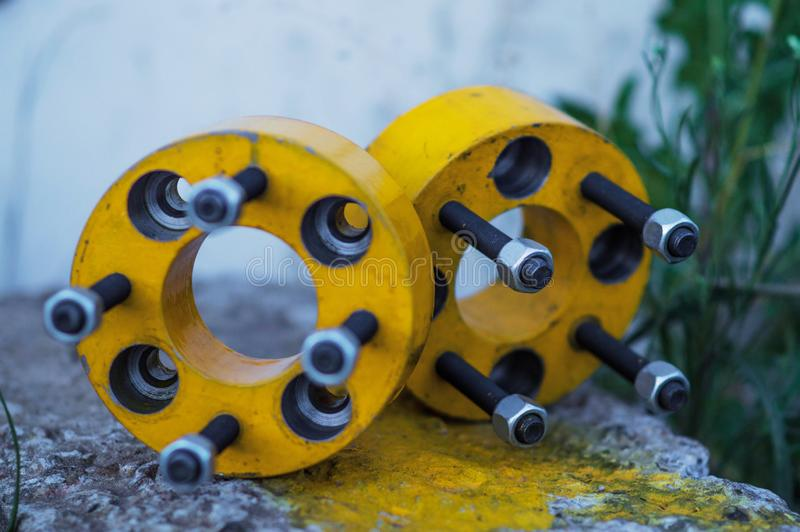 Different car parts. Various car parts accessories to improve the appearance and movement of the vehicle stock image
