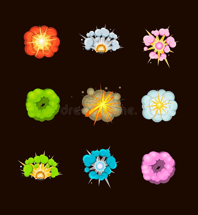 Various cartoon explosions, fire, acid nad other. A set of bright comic cartoon explosions for design and illustrations. Acid, fire, stone and other explosions stock illustration