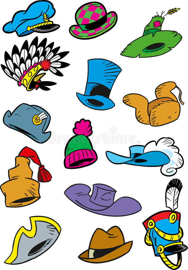 various cartoon hats stock vector illustration of black 68968758 rh dreamstime com cartoon hats pictures cartoon hats for sale