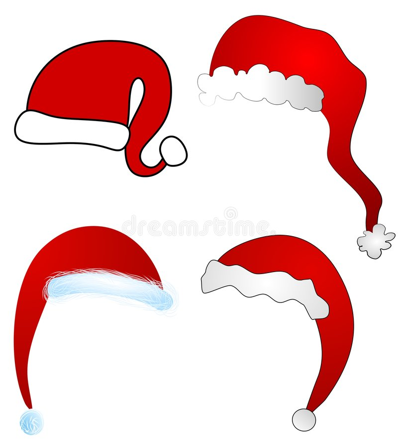 Various Cartoon Santa Claus Hats Isolated. A clip art illustration of your choice of 4 red and white santa hats isolated on white vector illustration