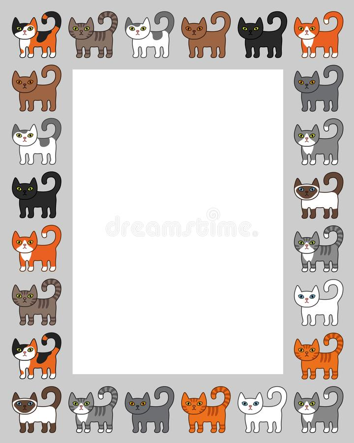 Various cats border frame. Cute and funny cartoon kitty cat vector illustration set with different cat breeds. Kids and Cute Carto vector illustration