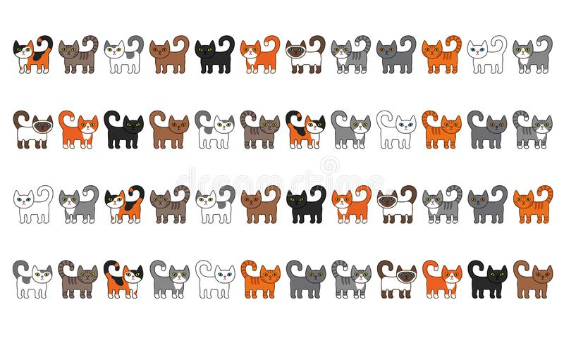Various cats border set. Cute and funny cartoon kitty cat vector illustration set with different cat breeds. Pet kittens of differ stock illustration