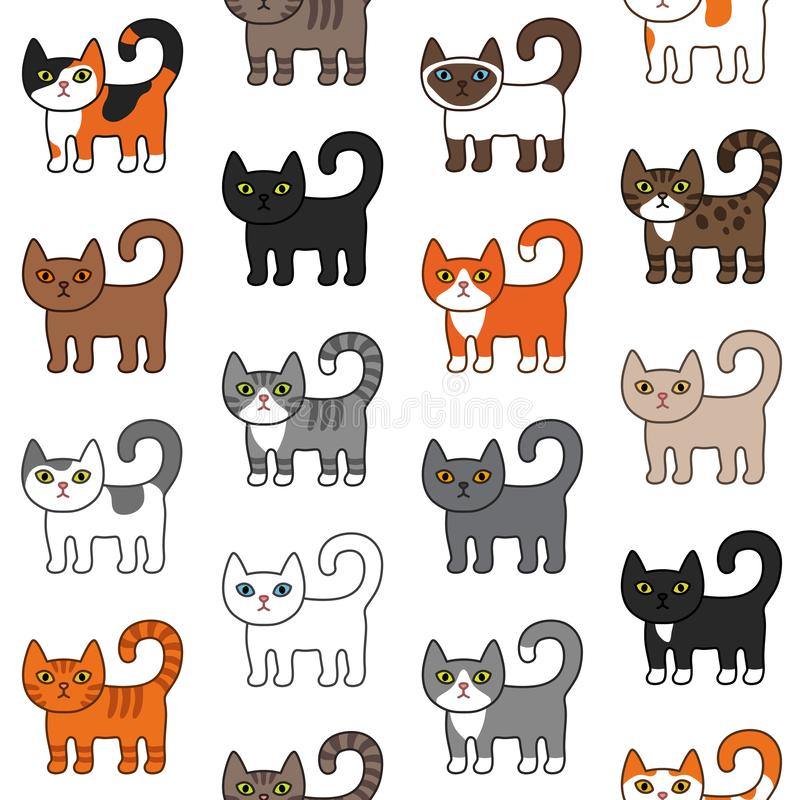Various cats seamless pattern. Cute and funny cartoon kitty cat vector illustration different cat breeds. Pet kittens of different vector illustration