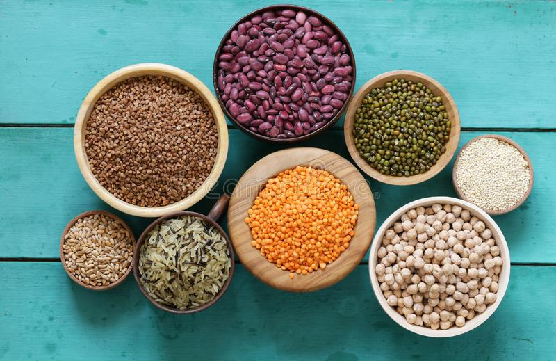 Various cereals beans, lentils, rice, kinoa stock photo