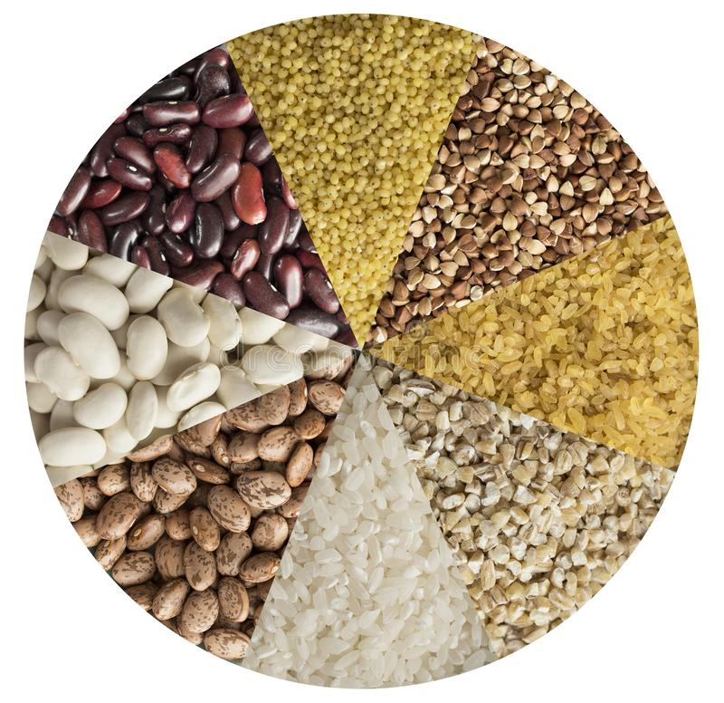 Various cereals, beans, peas lined in the form of a circle stock photos