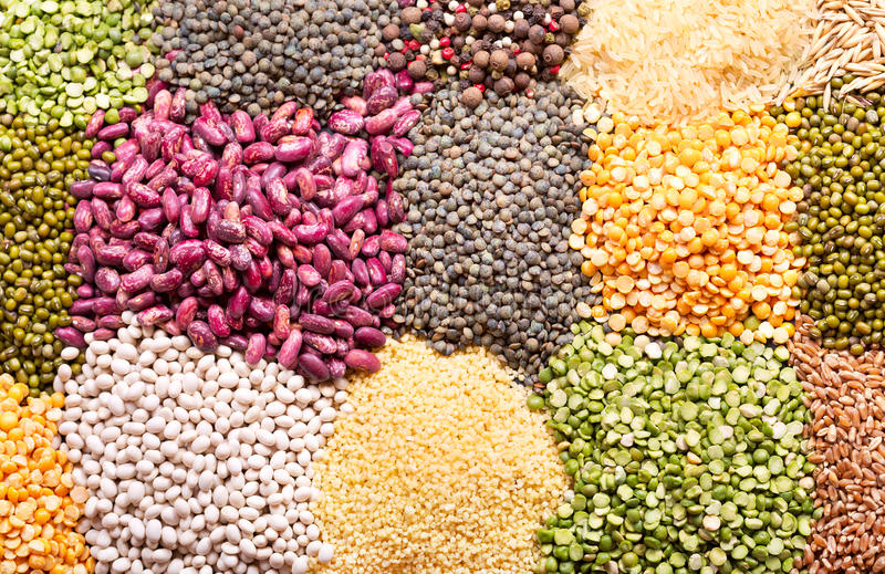 Various cereals, seeds, beans and grains royalty free stock photos