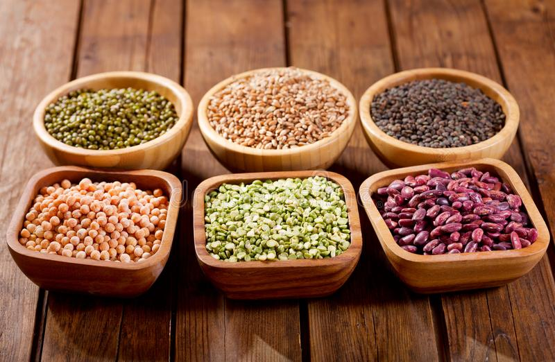 Various cereals, seeds, beans and grains royalty free stock photography