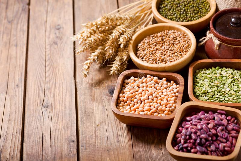 Various cereals, seeds, beans and grains stock photography