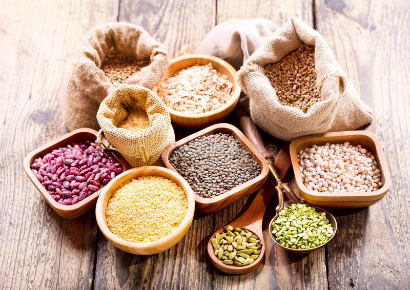 Various cereals, seeds, beans and grains stock photo