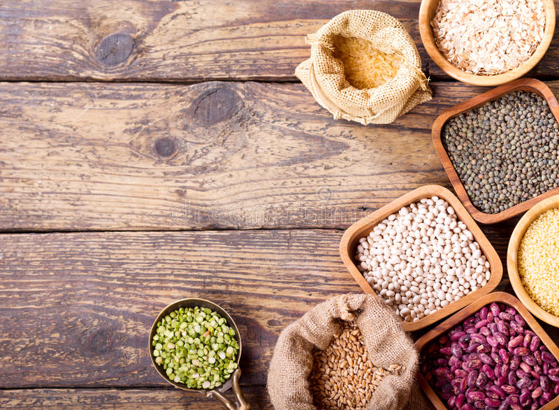 Various cereals, seeds, beans and grains stock photos