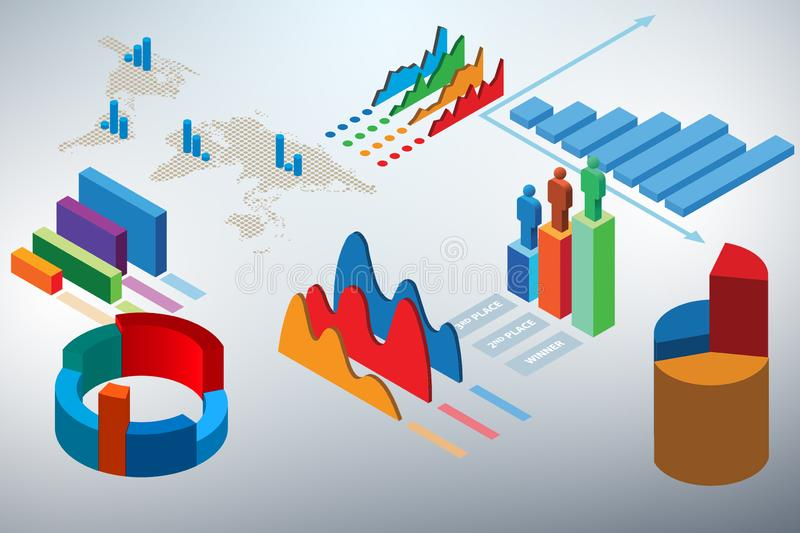 The various charts and graphs - 3d rendering. Various charts and graphs - 3d rendering stock illustration