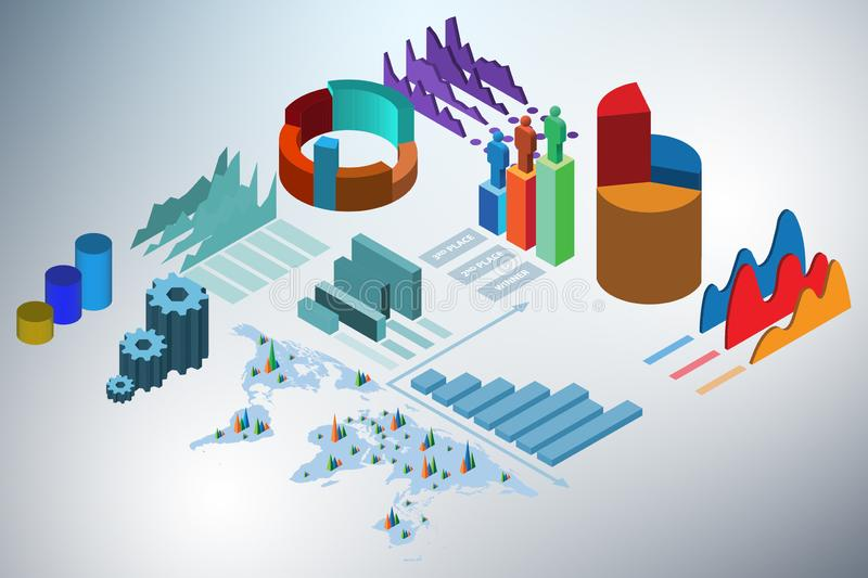 The various charts and graphs - 3d rendering. Various charts and graphs - 3d rendering royalty free illustration