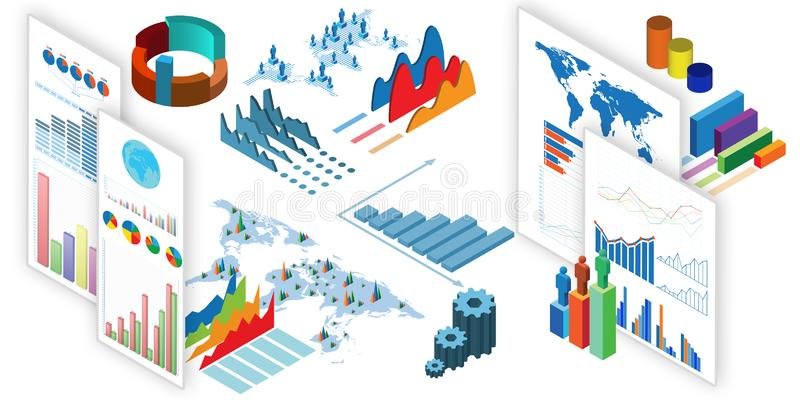The various charts and graphs - 3d rendering. Various charts and graphs - 3d rendering vector illustration