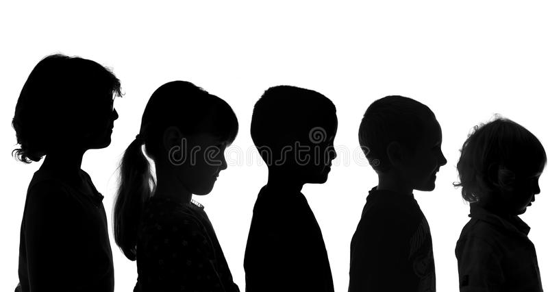 Various Children Shot in Silhouette Style stock photo