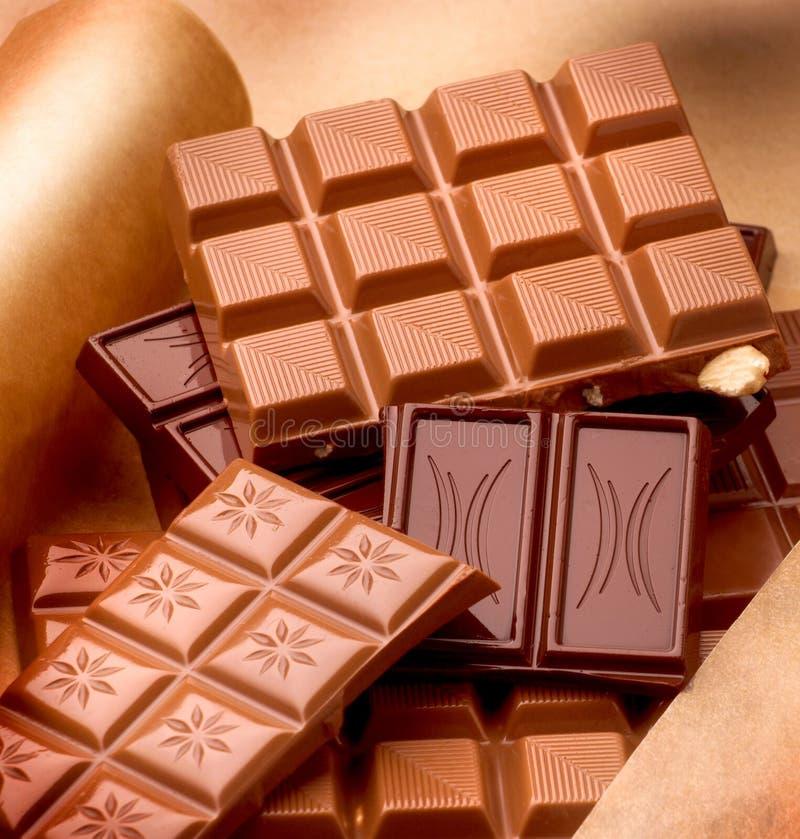 Various chocolate bars stock photography