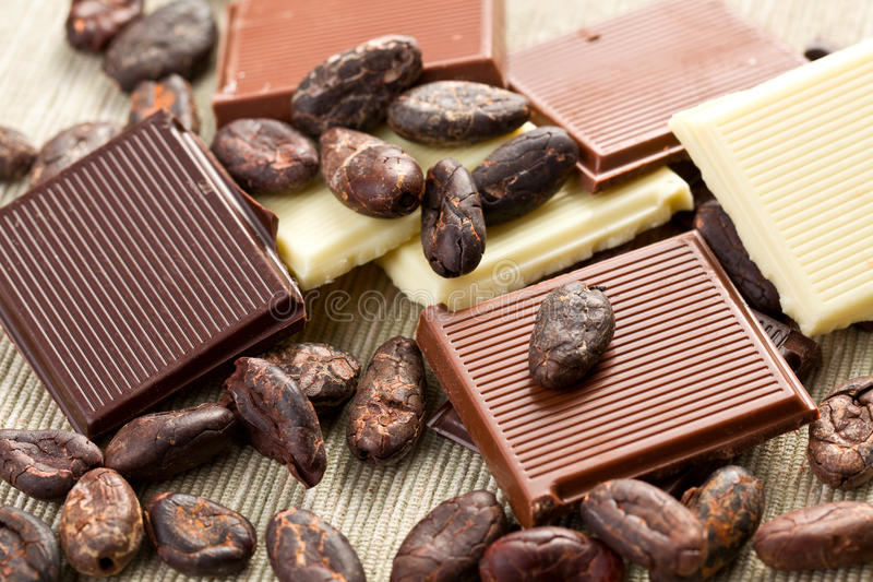 Various Chocolate Bars With Cocoa Beans Royalty Free Stock Photography
