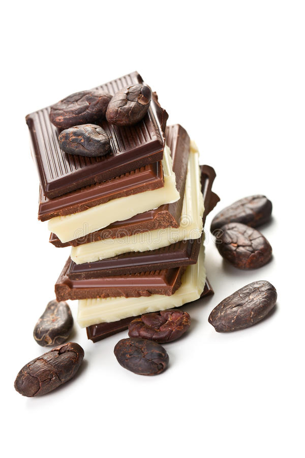 Download Various Chocolate Bars With Cocoa Beans Stock Image - Image: 23725621