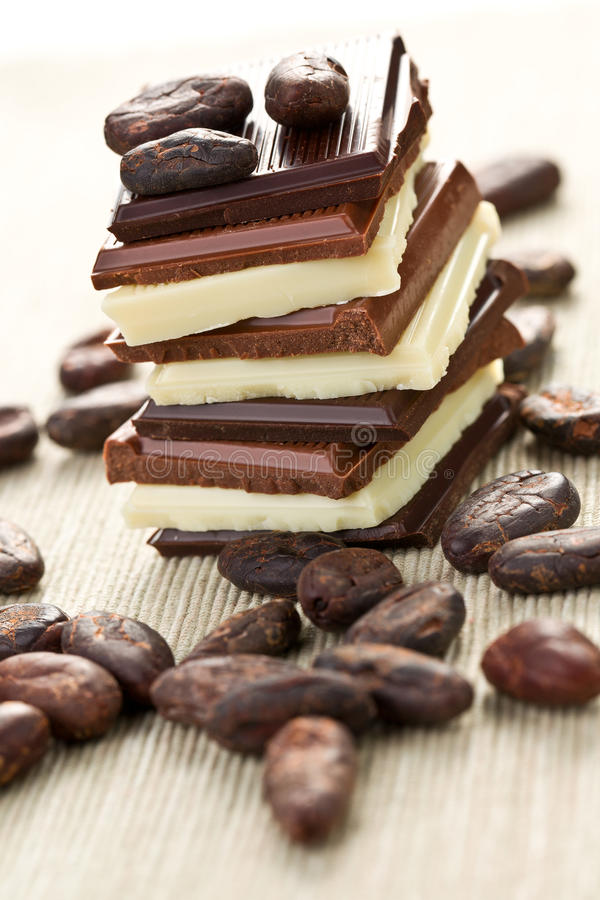 Download Various Chocolate Bars With Cocoa Beans Stock Image - Image: 25459609