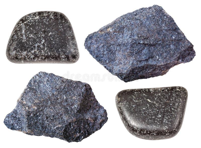 Various Chromite stones chromium ore isolated royalty free stock photo