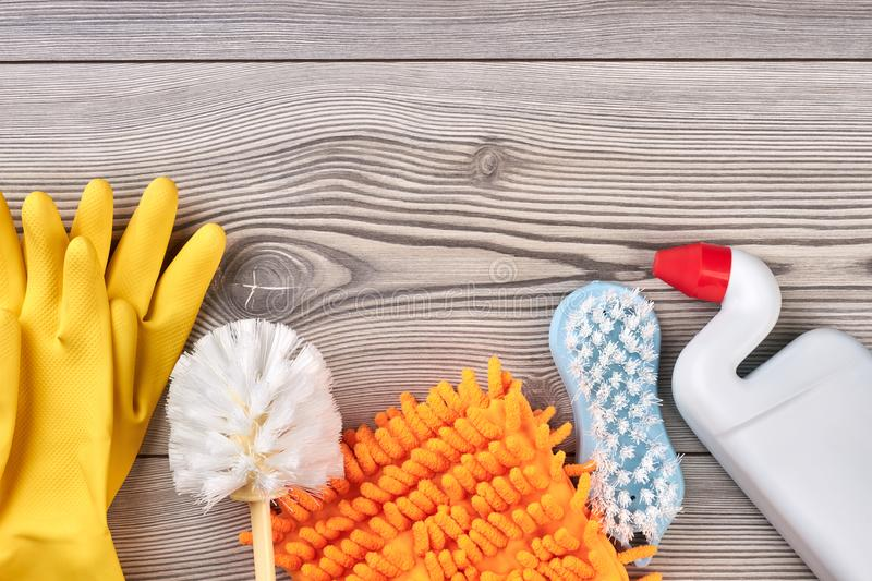Various cleaning objects with space on top. stock photography