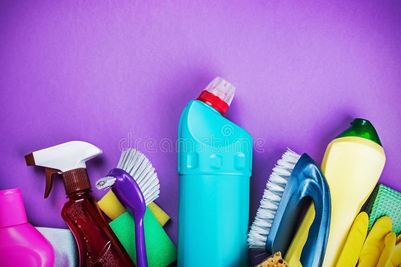 Various cleaning products for the house on a colored background. royalty free stock photography