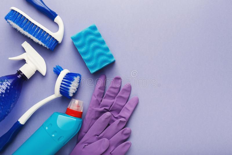Various cleaning supplies, housekeeping background stock photos