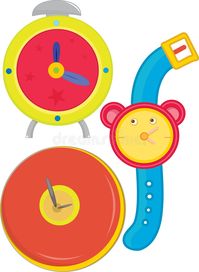 Various clocks and watches royalty free illustration