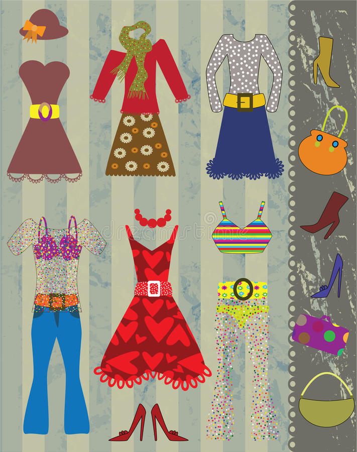 Various clothes objects vector illustration