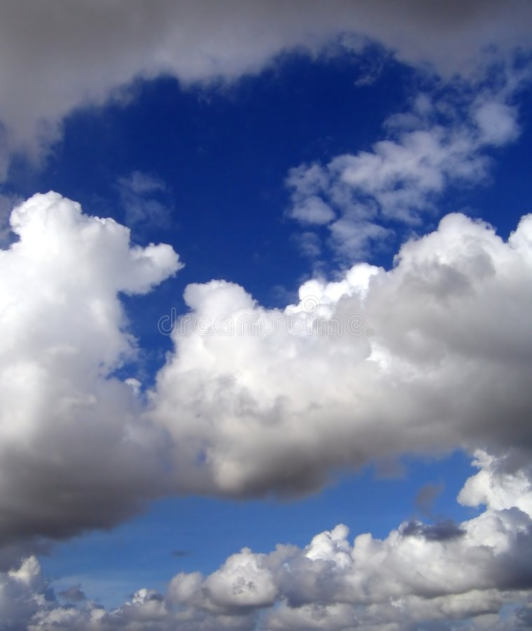 Various Cloud Formations. From rain clouds to puffy royalty free stock photo