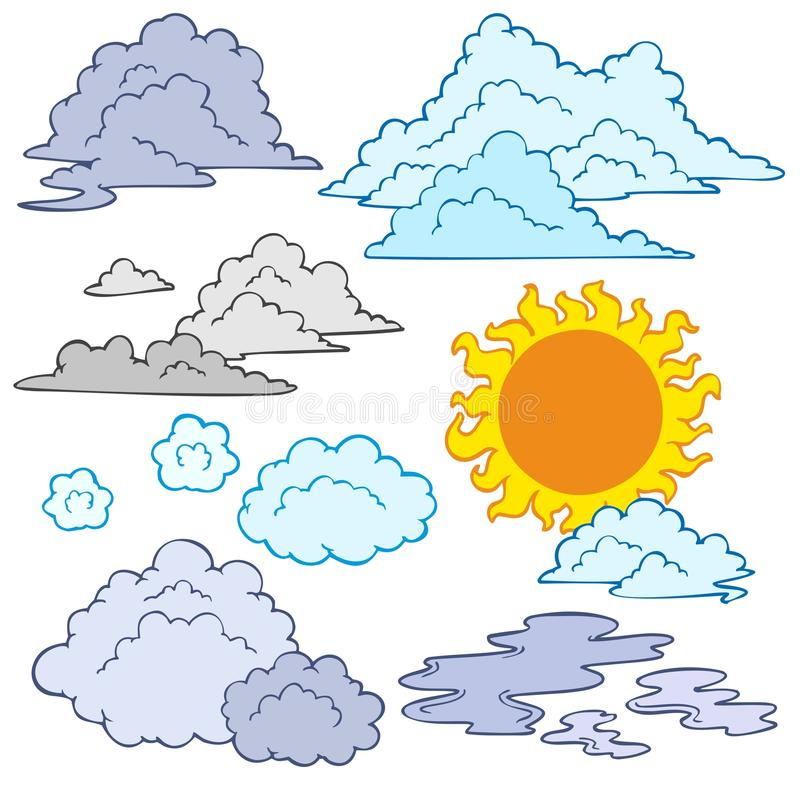 Download Various clouds and Sun stock vector. Image of sunshine - 15614773