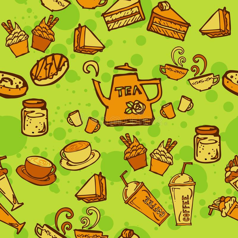 Various coffee,cake,cupcake,Sandwich,cookie , appetizer and beverage seamless pattern sketch drawing line orange tone Themes and. Green background stock illustration