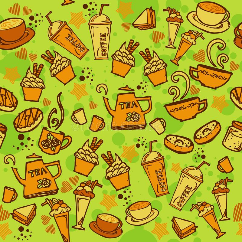 Various coffee,cake,cupcake,Sandwich,cookie , appetizer and beverage seamless pattern sketch drawing line orange tone Themes and. Green background vector illustration