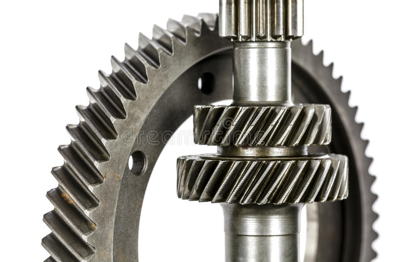 Various cog wheels. Different cog wheels dismantled from the drive line of a car stock photo