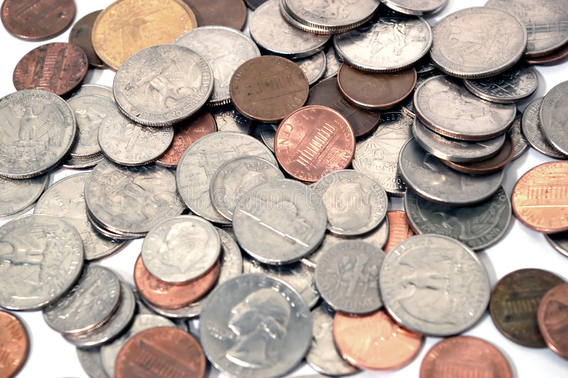 Various Coins and Change stock photo